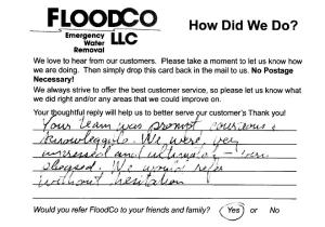 Coram Customer Comment Card